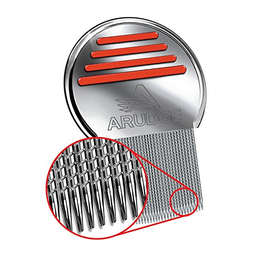 Head Lice Treatment, Egg & Nit Removal Terminator Comb By Arudge – Stainless Steel – Spiral Grooved Teeth – Ergonomic Design With Anti Slip Bands