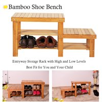 Clearance! 3-Tier Entryway Bench, Hanging Shoe Organizer w/ 2 Seats, Bamboo Table with Shoe Storage Holds Up to 551 Lbs, Sturdy Storage Benches for Entryway Garage Hallway Living Room Bathroom, Q0781