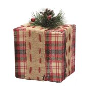 625 square red brown and green plaid gift box with pine bow table top christmas - Decorative Christmas Gift Boxes With Lids