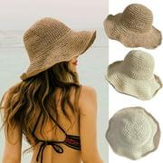 SUNSIOM Ladies Summer Sun Hats Women Panama Straw Beach Hats Foldable Wide Brim Floppy