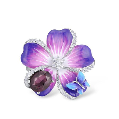 AkoaDa Women 925 Sterling Silver Purple Flower Butterfly Delicate Enamel Ring Party Chic Jewelry For Women Anniversary Gift Bridal Engagement Party Scroll Flower Silver Ring Jewelry