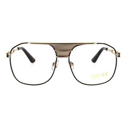 b2dacdf7ccc Mens Mobster Metal Rim Pilots Retro Vintage Style Eyeglasses Gold Brown -  Walmart.com