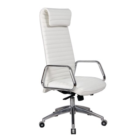 Modern Contemporary Urban Design Home Work Swivel Adjustable Office Chair  White  Faux Leather