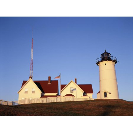 Nobska Lighthouse - Nobska Lighthouse, Woods Hole, Cape Cod, Massachusetts, USA Print Wall Art By Walter Bibikow