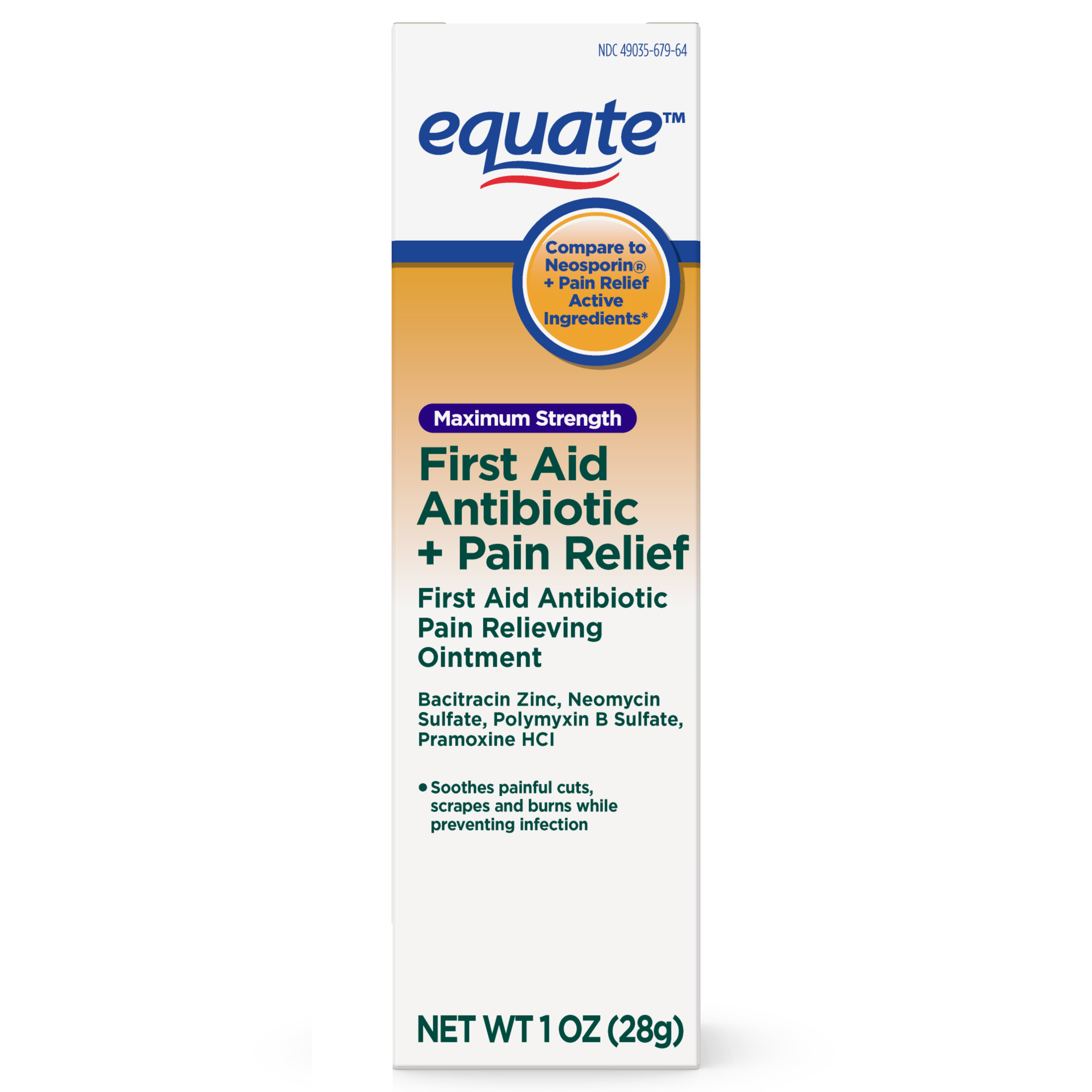 Equate Maximum Strength First Aid Antibiotic & Pain Relief Ointment, 1 Oz