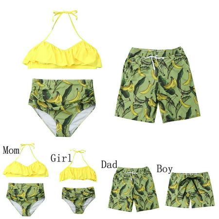 cad20894d9 CHRONSTYLE - 2019 Family Matching Fruit Print Swimwear Mom Dad Daughter Son  Bikini Set Swimsuit - Walmart.com