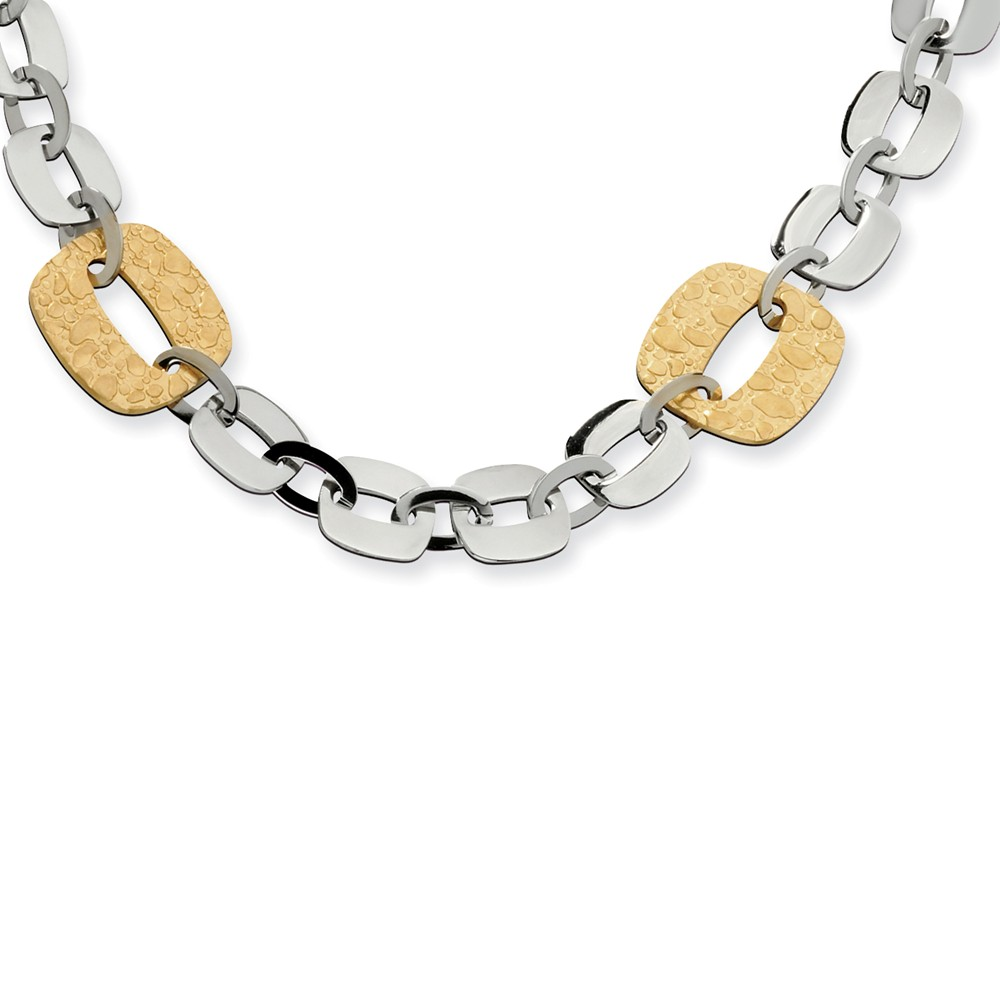 Stainless Steel Gold IP Plated Square Link Necklace (19in long)