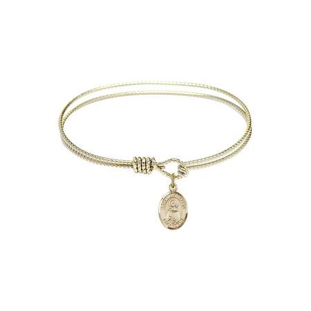 6 1/4 inch Oval Eye Hook Bangle Bracelet w/ St. Anastasia in -