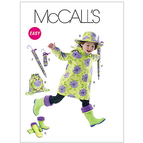 McCall's Pattern Children's and Girls' Raincoat, Hat, Boot Liners, Backpack and U, Kids (3, 4, 5, 6, 7, 8)