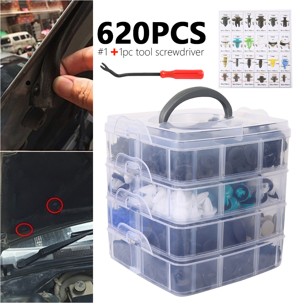 620Pcs 24 Kinds 4 Layers Car Bumper Fender Fastener Repair Parts Retainer Clip