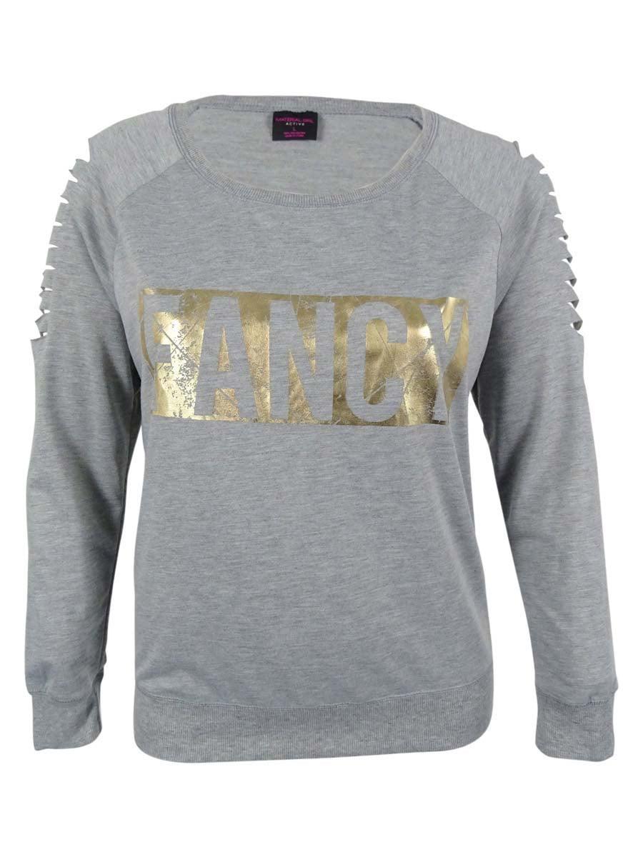 Material Girl Juniors' Graphic Active Sweater Top (L, Heather Platinum)