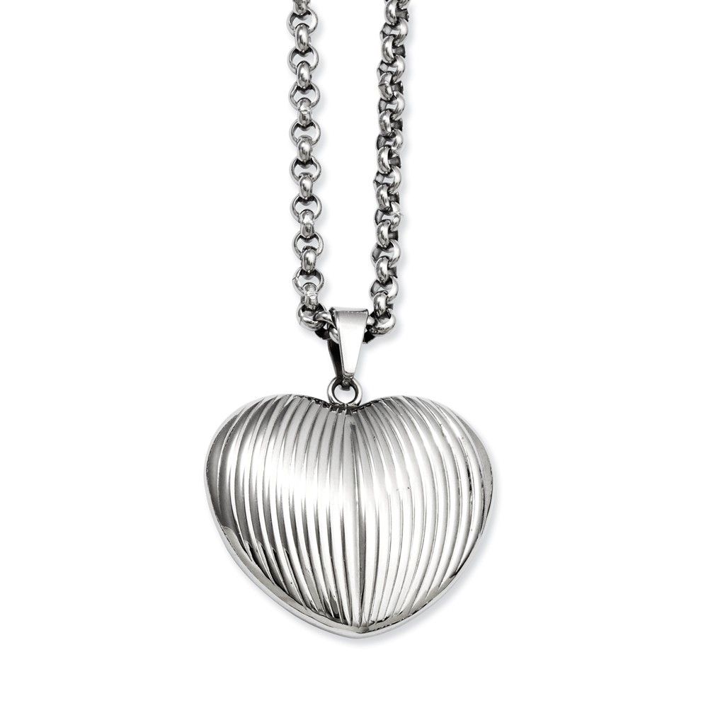 Stainless Steel 24in Puffed Heart Pendant Necklace