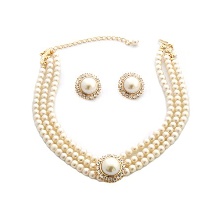 Wedding Jewelry Set Gold Crystal Pearl Rondelle Earrings Necklace Set (Crystal Pearl Set)