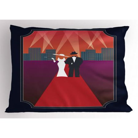 Old Hollywood Pillow Sham Illustration of a Couple with Retro Fashion Dresses Walking on the Red Carpet, Decorative Standard Queen Size Printed Pillowcase, 30 X 20 Inches, Multicolor, by - Old Hollywood Theme Dress