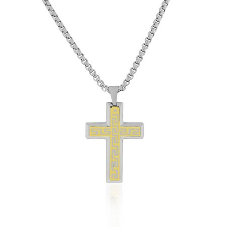 EDFORCE Stainless Steel Two-Tone Greek Key Statement Cross Mens Necklace