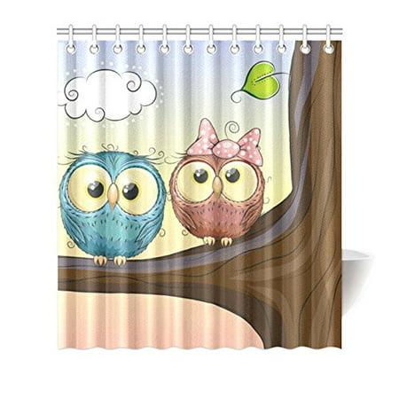 MKHERT Lovely Owls Shower Curtain Waterproof Bath Decor 66x72 Inch