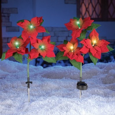 Set of 2 Solar Power Lighted Color Changing Red Poinsetti...
