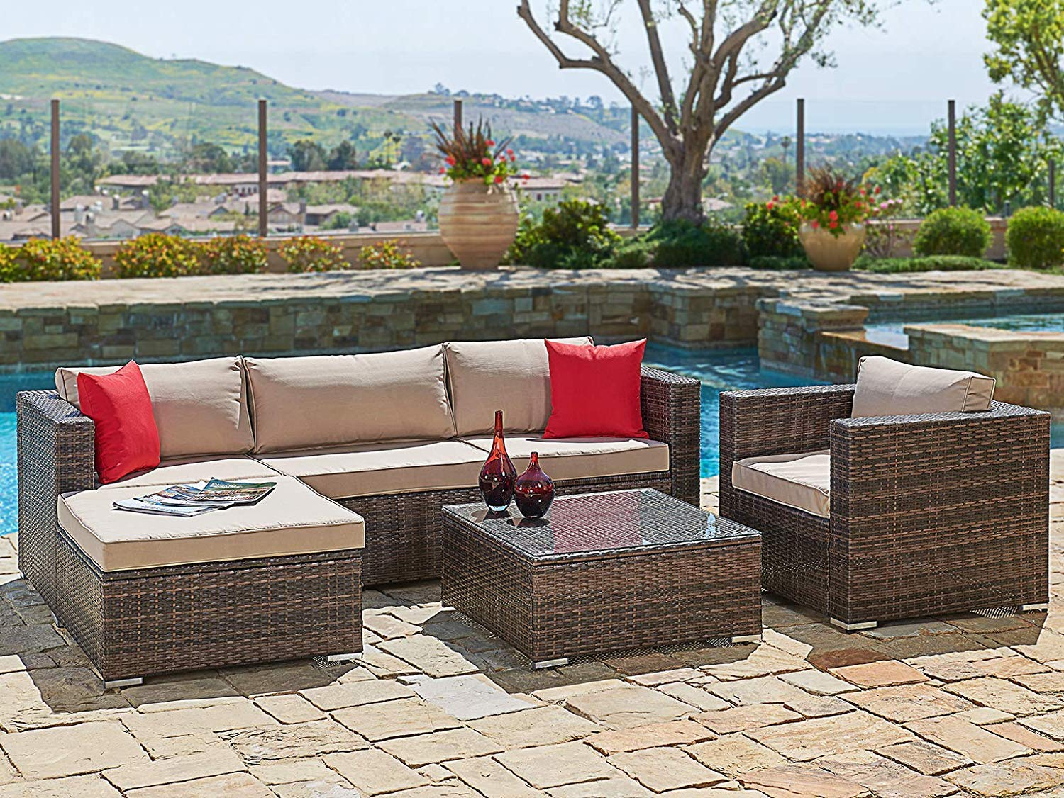 Suncrown outdoor furniture sectional sofa chair 6 piece set all weather checkered wicker with brown seat cushions modern glass coffee table patio