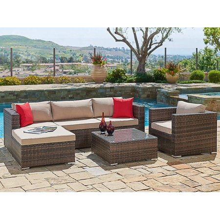 Suncrown Outdoor Furniture Sectional Sofa Chair 6 Piece Set All Weather