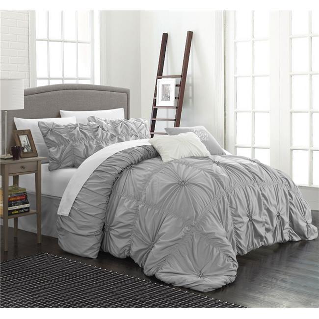 Chic Home CS1442-US Ramanda Floral Pinch Pleat Ruffled Designer Embellished Comforter Set - Silver - Queen - 6 Piece
