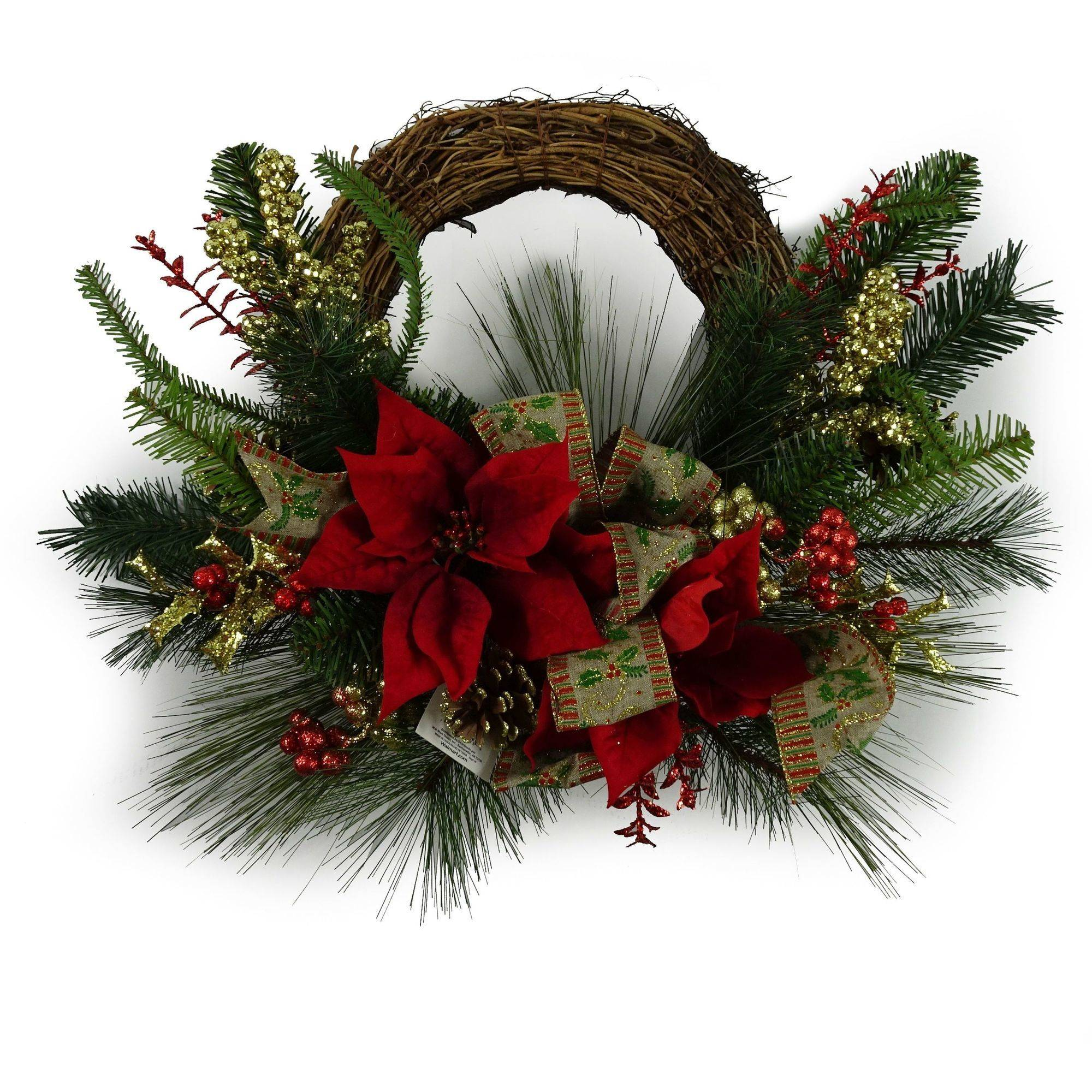 "Holiday Time Christmas Decor 20"" Red Poinsettia Decorated Half Wreath"