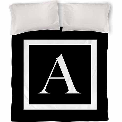 Thumbprintz Classic Block Monogram Duvet Cover, Black