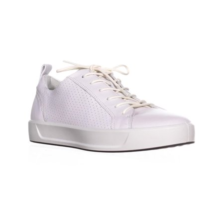Womens ECCO Soft 8 Perforated Lace Up Sneakers, White, 9.5 US / 40 EU Ecco Womens Charm