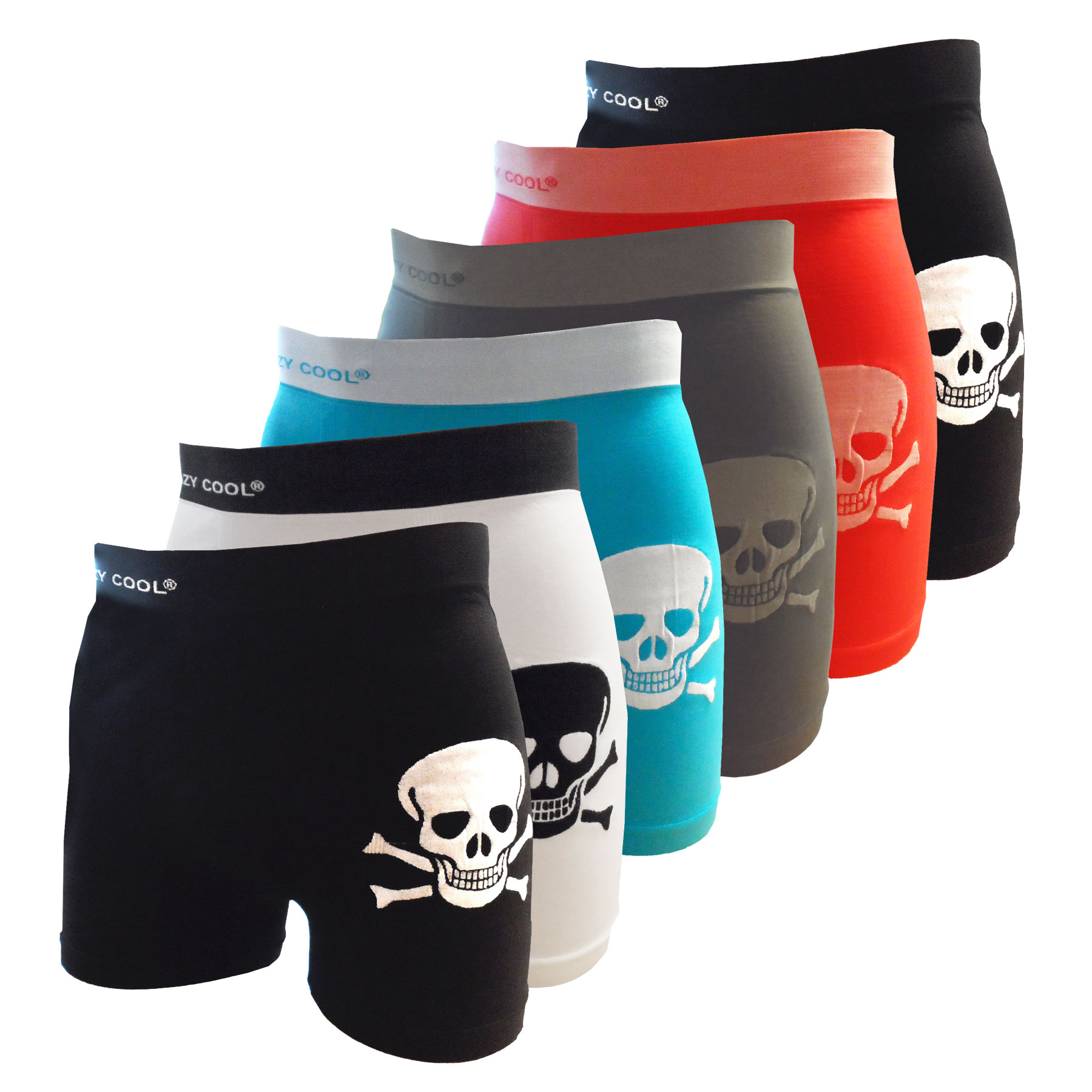 Crazy Cool Men's Bones and Skeleton Seamless Boxer Briefs Underwear 6-Pack, M/L Size