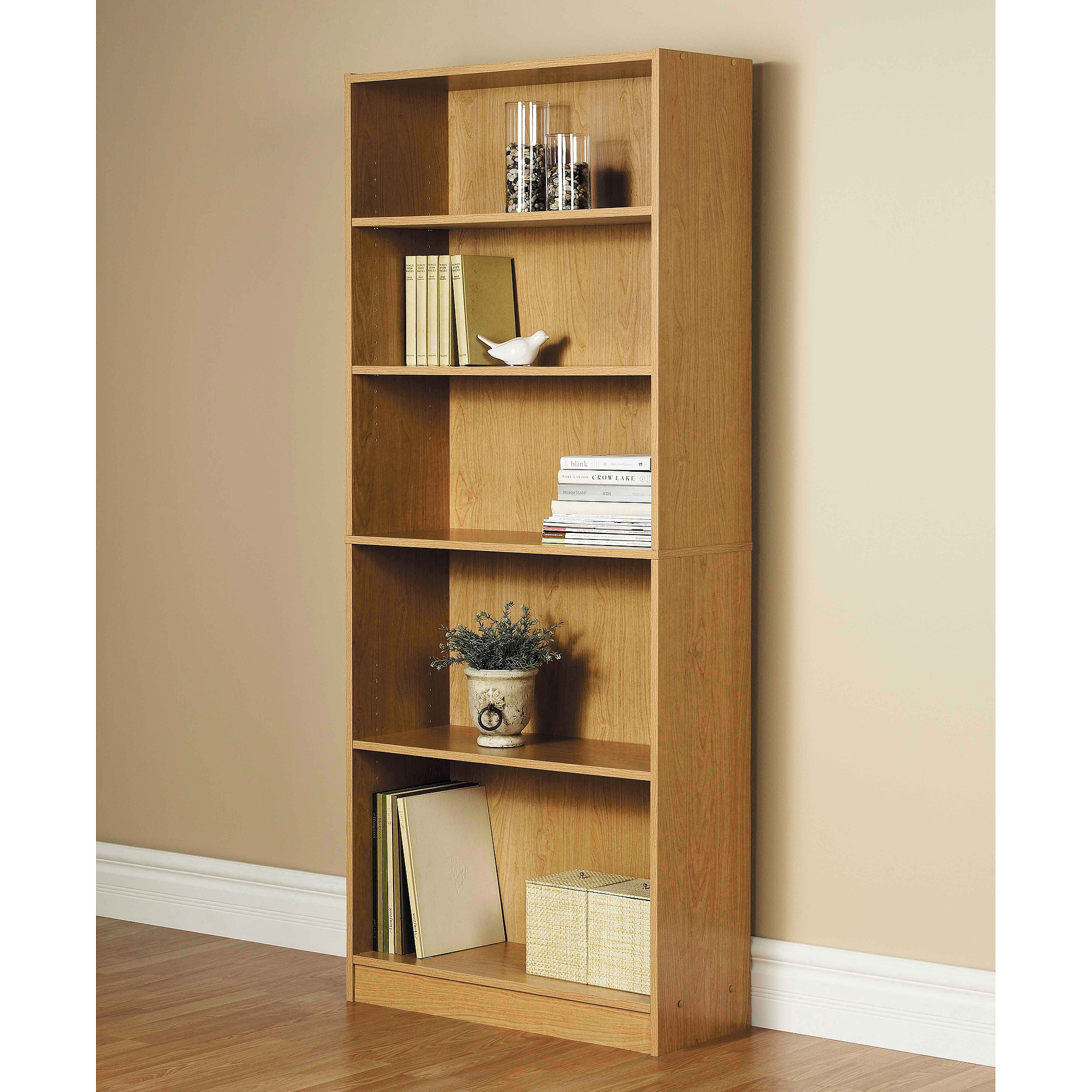 Set Of 2 Orion Wide 5 Shelf Standard Bookcase Multiple Finishes
