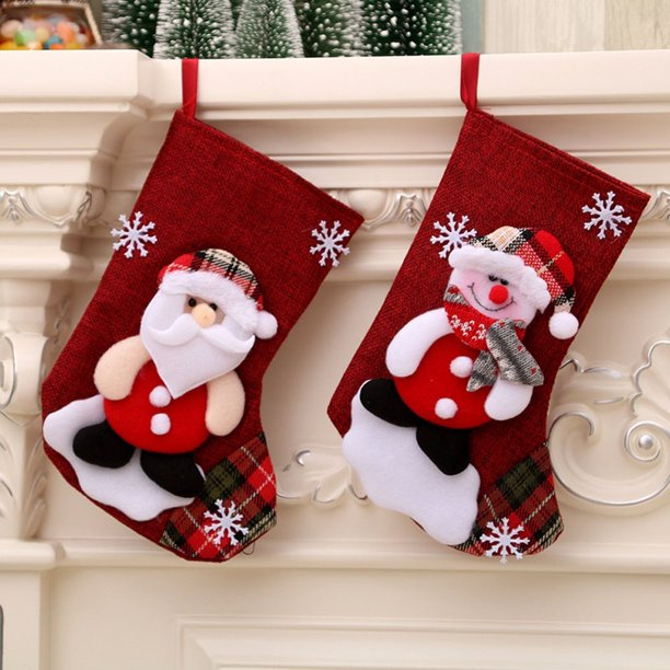 Christmas Stocking Gift Santa Claus Snowman Toy Stockings Hanging Socks Xmas Tree Decor Walmart Com Walmart Com