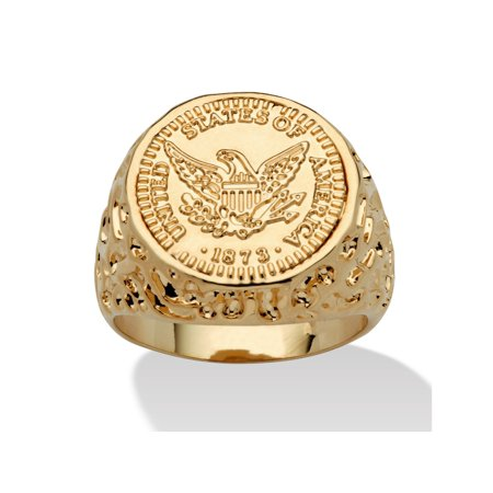 Gold Nugget Inlay (Men's 14k Gold-Plated American Eagle Coin Replica Nugget-Style Ring )