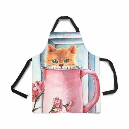 ASHLEIGH Watercolor Greeting Card Red Cat Pitcher Picture Apron for Women Men Girls Chef with Pockets Adjustable Bib Kitchen Cook Apron for Cooking Baking Gardening Pet Grooming Cleaning (Cat Grooming Pictures)