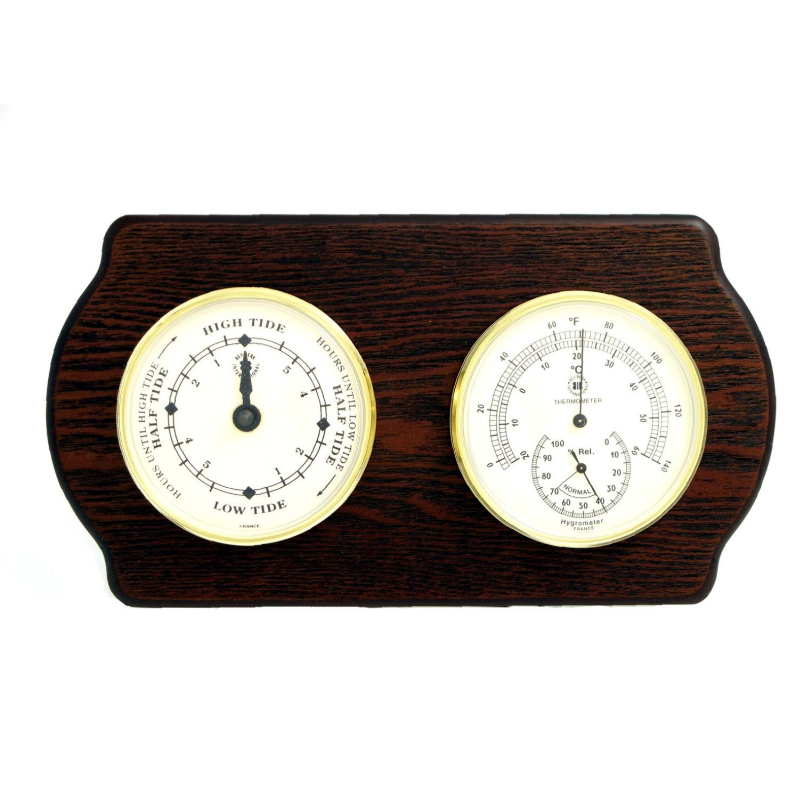 Bey-Berk International Brass Tide Clock, Thermo./Hygro. on Ash Wood T.P.