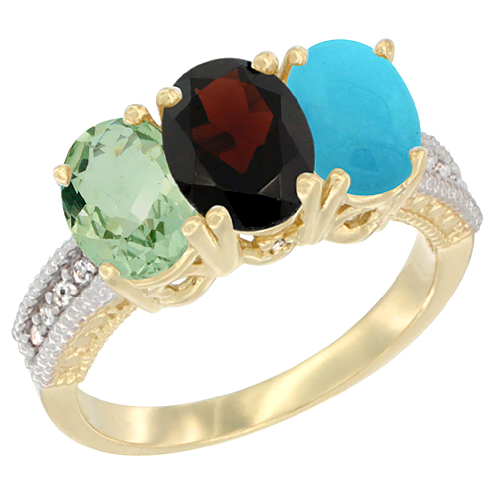 10K Yellow Gold Diamond Natural Green Amethyst, Garnet & Turquoise Ring 3-Stone Oval 7x5 mm, sizes 5 10 by WorldJewels
