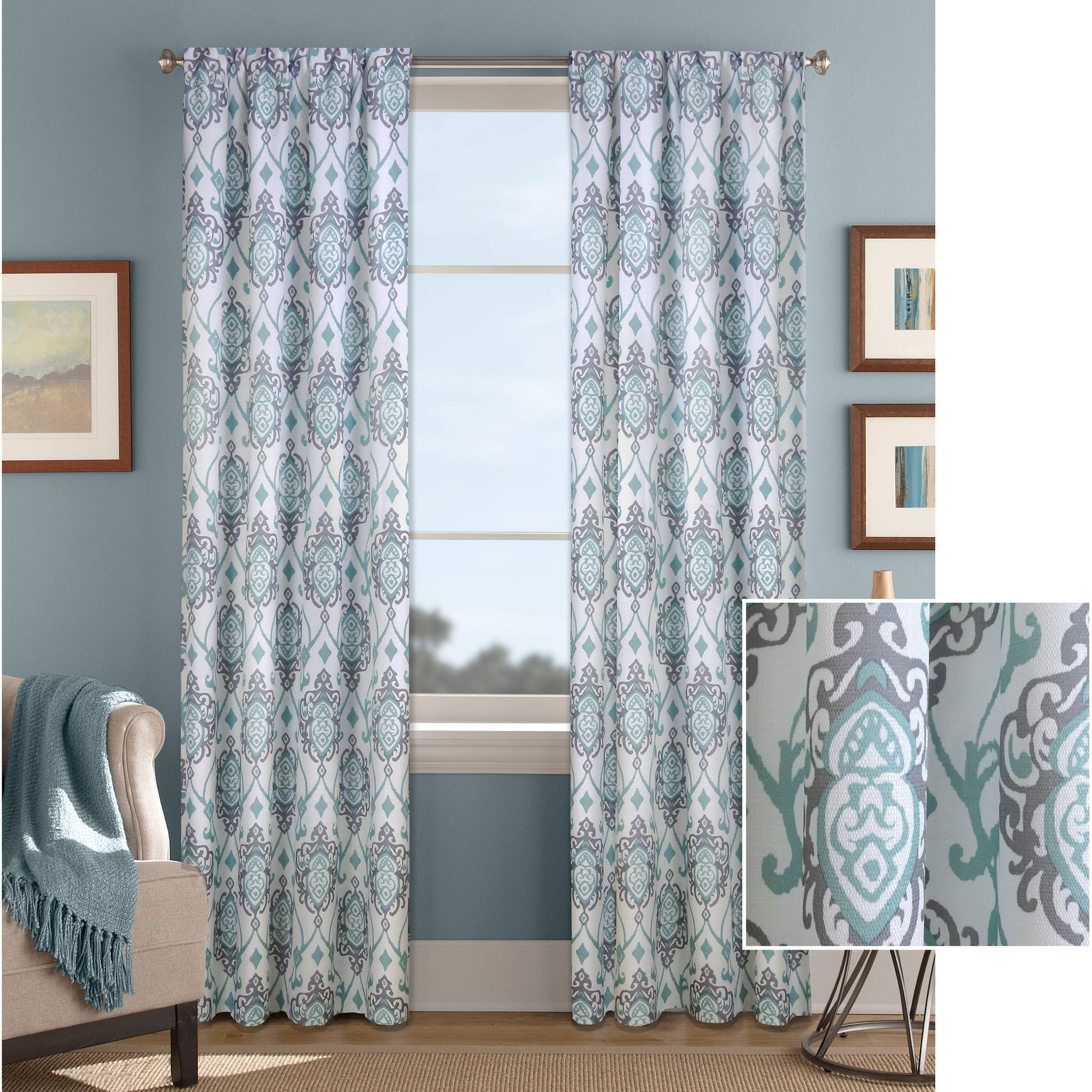 Better Homes & Gardens Damask Scroll Curtain Panel - Walmart.com