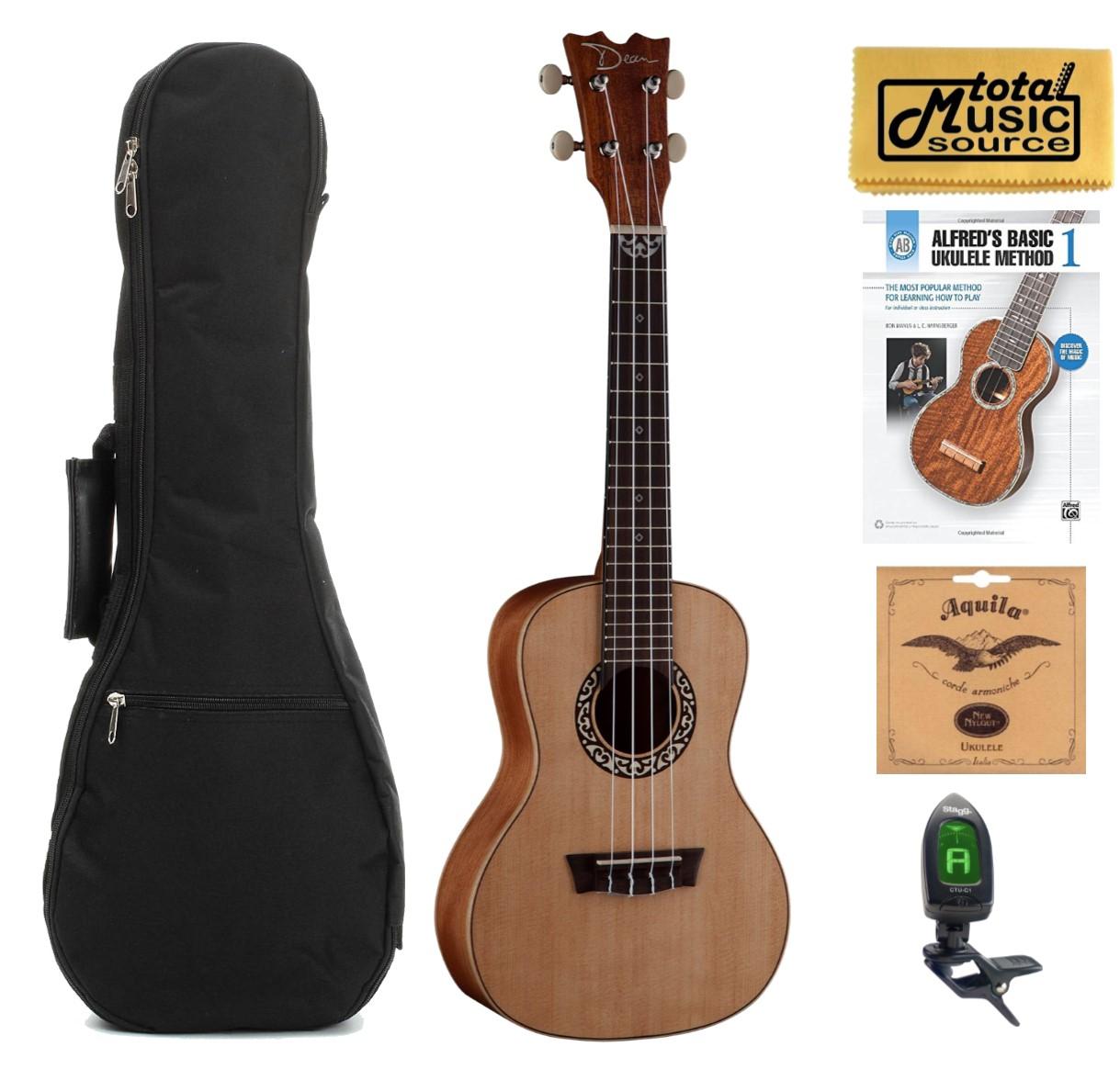 Dean Guitars Concert Spruce Ukulele, Satin Natural w/Padded Gigbag,Tuner,Strings,Book & PC ,UKEDCSPR COMPBK