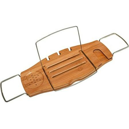 ipegtop Wood Luxury Bathtub Caddy Tray, Natural Bamboo Bath Tub ...