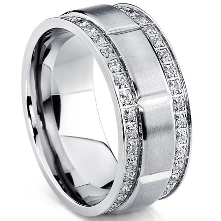 Men's Titanium Wedding Band Ring with Double Row Cubic Zirconia, Comfort Fit Sizes, 9MM  8 to 12 8mm Double Row Band Ring