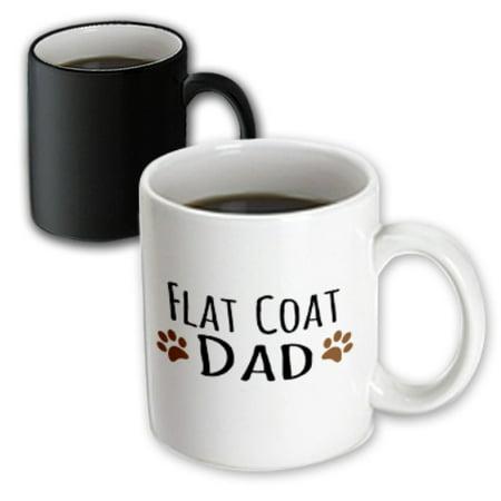Brown Flat Coated Retriever - 3dRose Flat Coat Dog Dad - flat-coated retriever doggie by bread - brown muddy paw prints - doggy lover, Magic Transforming Mug, 11oz