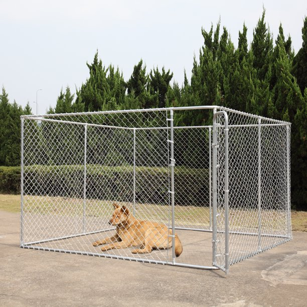 Coziwow Dog Fence 10 X 10 Ft Heavy Duty Outdoor Chain Link Dog Kennel Enclosure W Door Walmart Com Walmart Com
