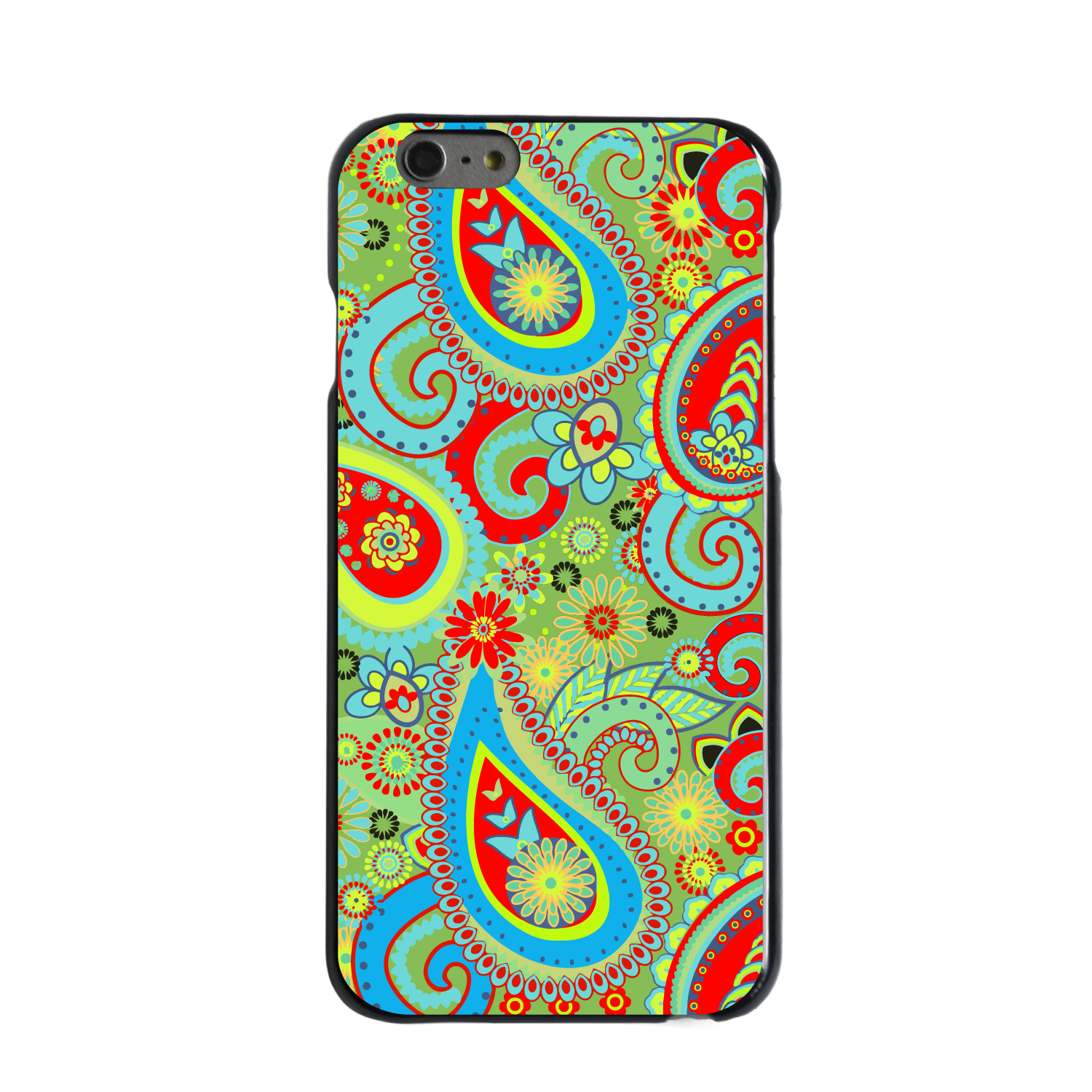 "CUSTOM Black Hard Plastic Snap-On Case for Apple iPhone 6 / 6S (4.7"" Screen) - Green Red Blue Paisley"