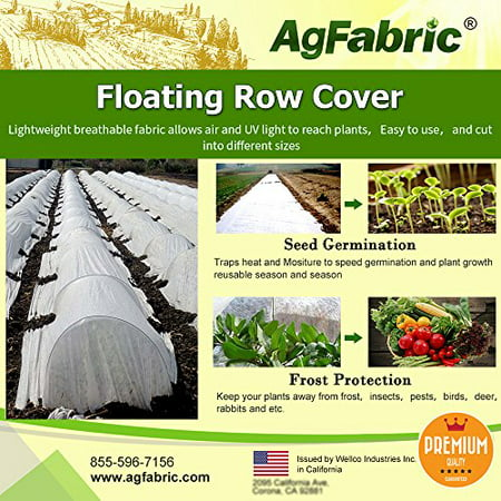 Agfabric Ultra-Heavy Floating Row Cover and Plant Blanket Kit with Pins, 2.0oz Fabric of 10x30ft for Frost Protection and Terrible Weather Resistant