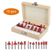 "15Pcs 1/4"" Router Bit Set Shank Tungsten Carbide Rotary Tool with Case Box"