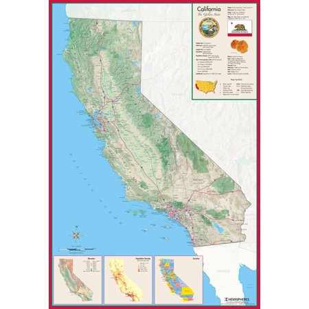 California Laminated Wall Map Laminated Poster - 26x38
