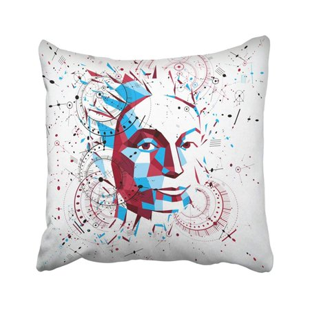 ARTJIA 3d Low Poly Portrait Of Smart Woman Human Thoughts Metaphor Artistic Made Using Modern Pillowcase Throw Pillow Cover 18x18 inches](Low Poly Portrait)