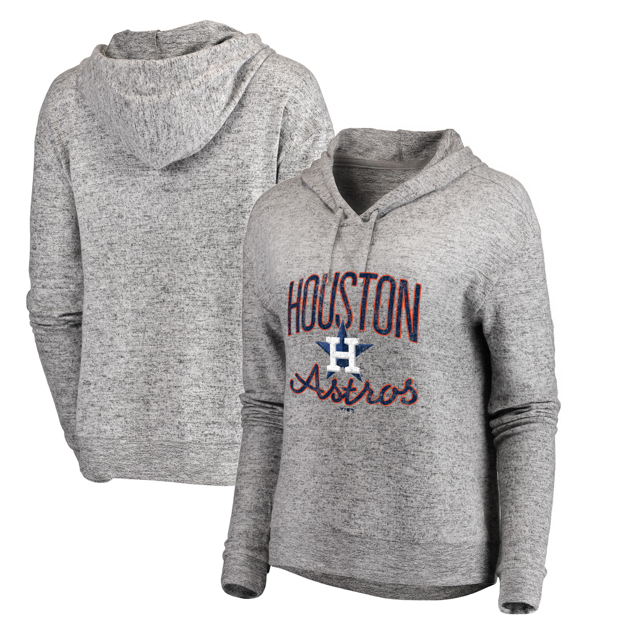 Houston Astros Let Loose by RNL Women's Cozy Collection Steadfast Pullover Hoodie - Heathered Gray