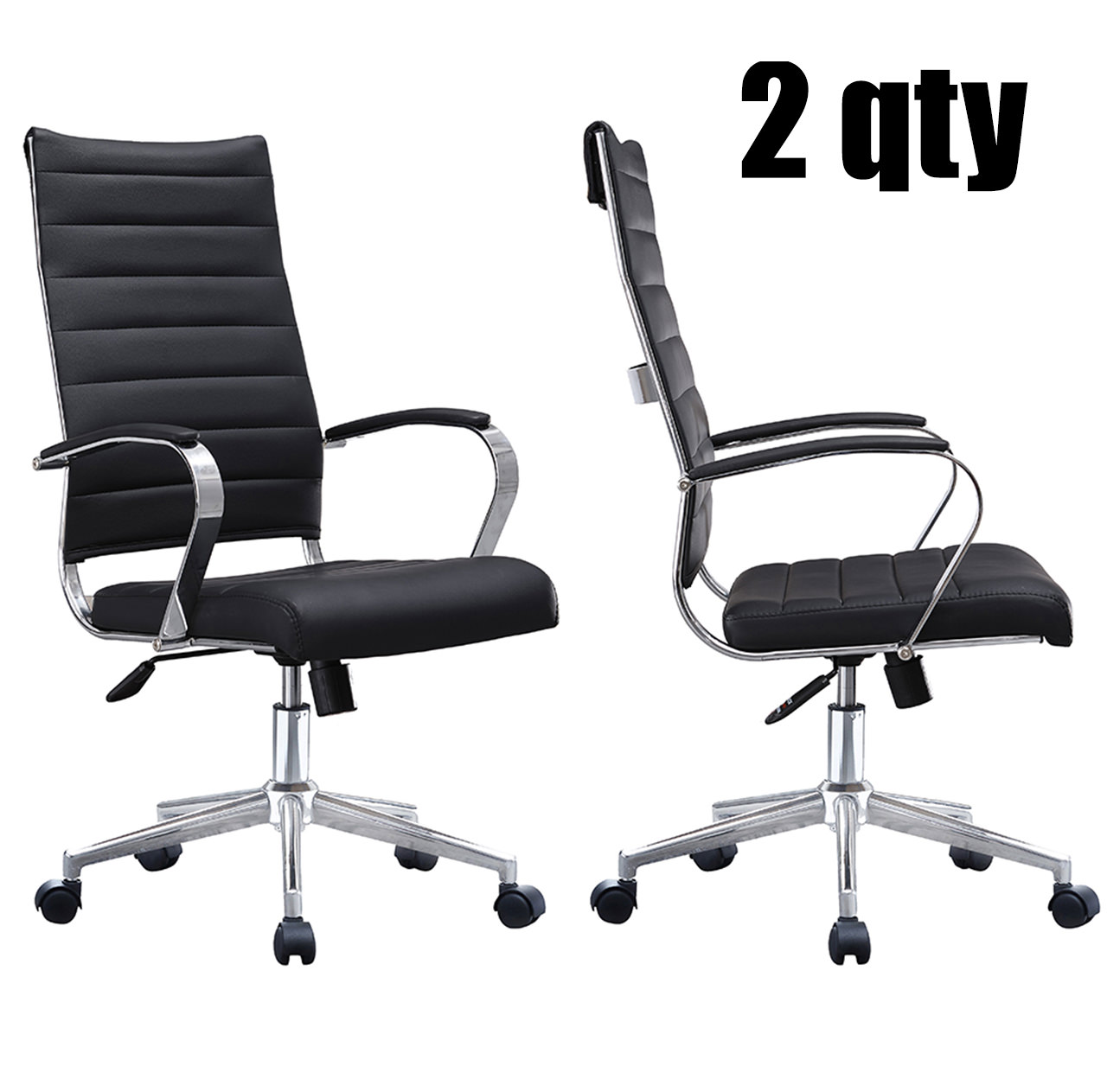 2xhome Set of 2 - Black- Modern High Back Tall Ribbed PU Leather Swivel Tilt Adjustable Chair Designer Boss Executive Management Manager Office Conference Room Work Task Computer