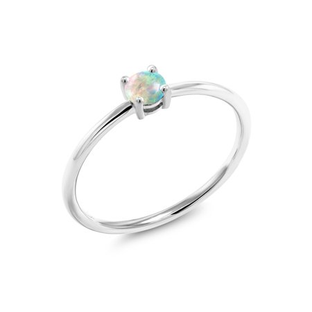 0.25 Ct Round Cabochon White Simulated Opal 10K White Gold Ring