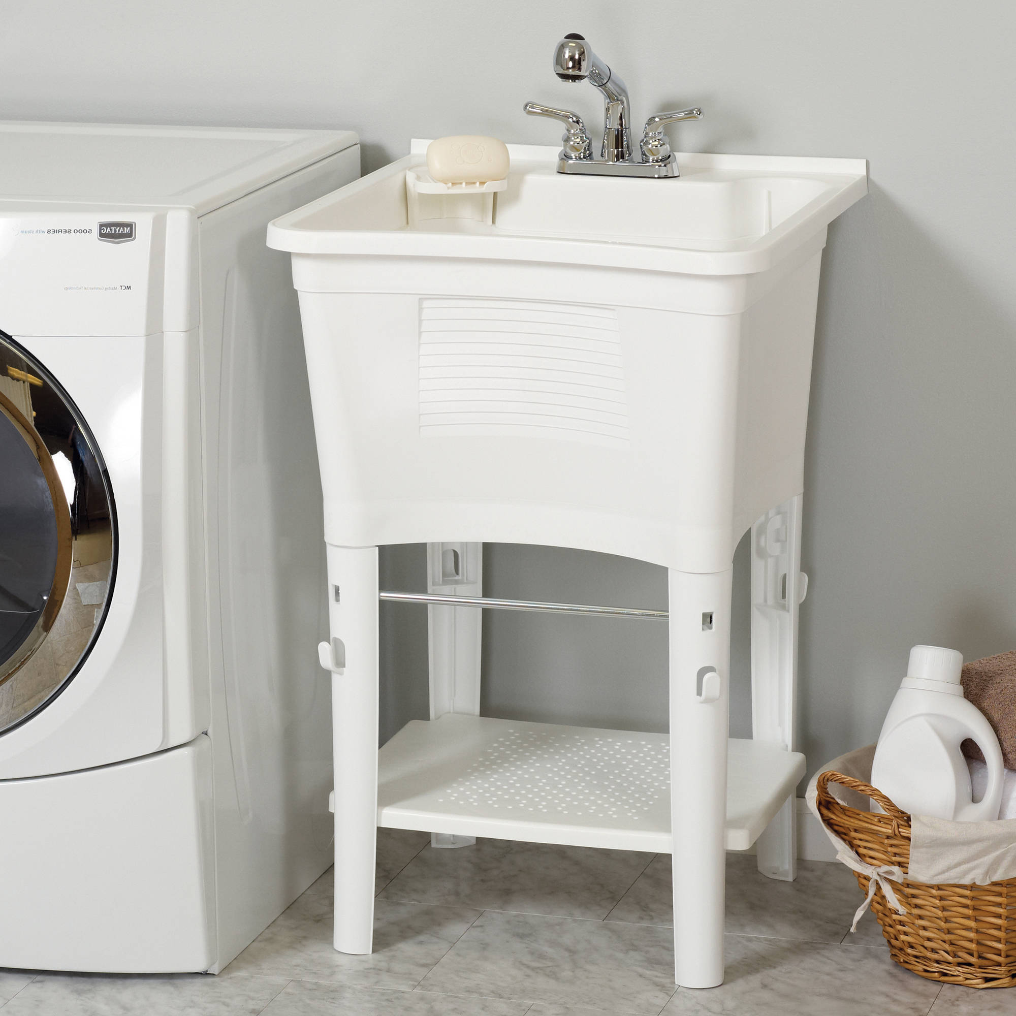 ErgoTub Full Featured Freestanding Utility Laundry Tub with Faucet Kit, White