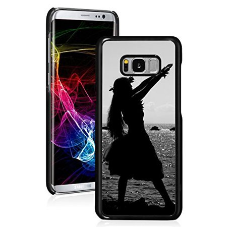 For Samsung Galaxy Hard Back Case Cover Hula Dancer Silhouette Hawaii (Black For Samsung Galaxy S8) (Dancers Silhouette)